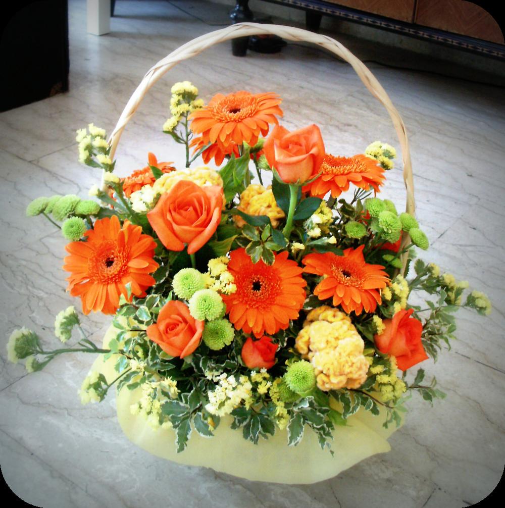Le nostre creazioni cesto di fiori con rose celosie e for Fiori gerbere