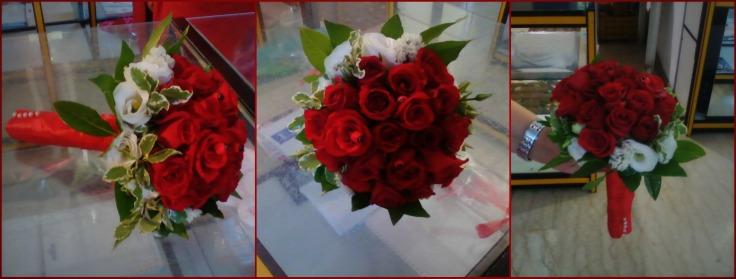 Le nostre creazioni: bouquet matrimonio con rose e lisyanthus