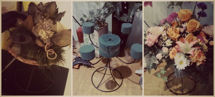 Le nostre creazioni: composizione floreale in seta su candelabro