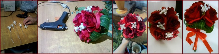 Work in progress: bouquet promessa con rose in seta e fiori gioiello